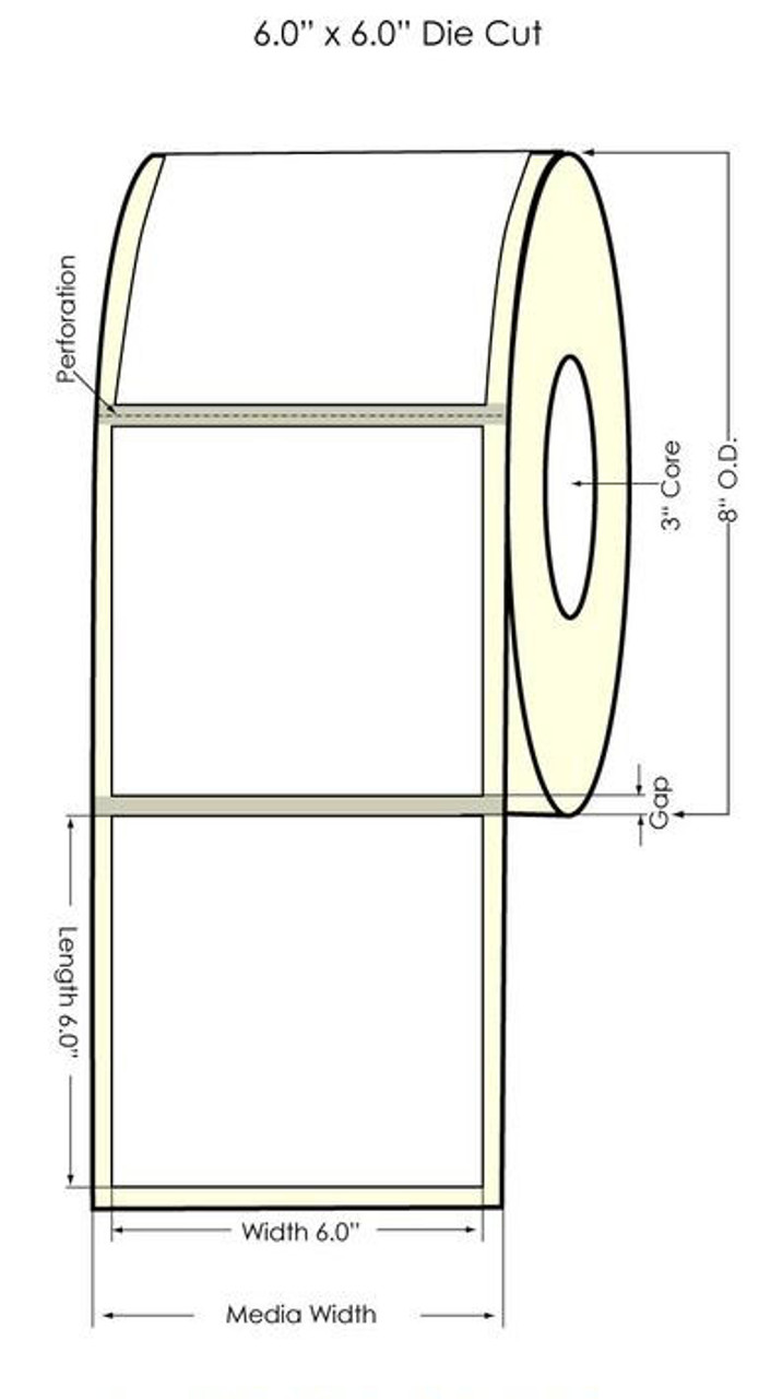 "Inkjet 6"" x 6"" (8"" OD) Clear Polyester Label 950/Roll (644004)"