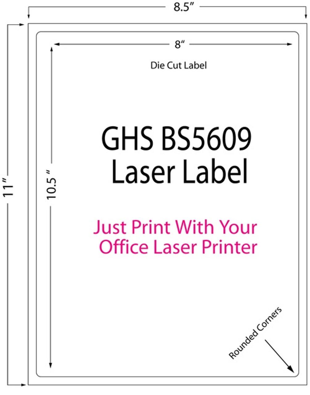 """Laser 8"""" x 10.5"""" Matte Chemical Sheet Label 250/Pack (697001)"""
