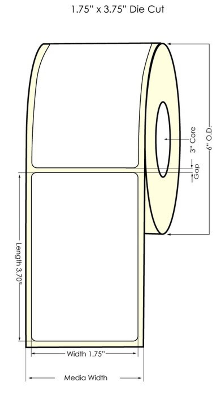 "Epson TM-C3500 1.75"" x 3.75"" NP Matte BOPP Label 300/Roll (814035)"