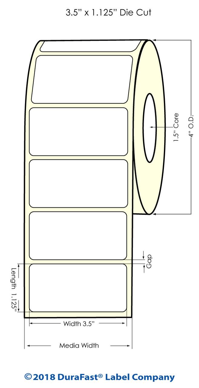 """Epson TM-C3500 3.5"""" x 1.125"""" Matte BOPP Labels 850/Roll (814038)"""