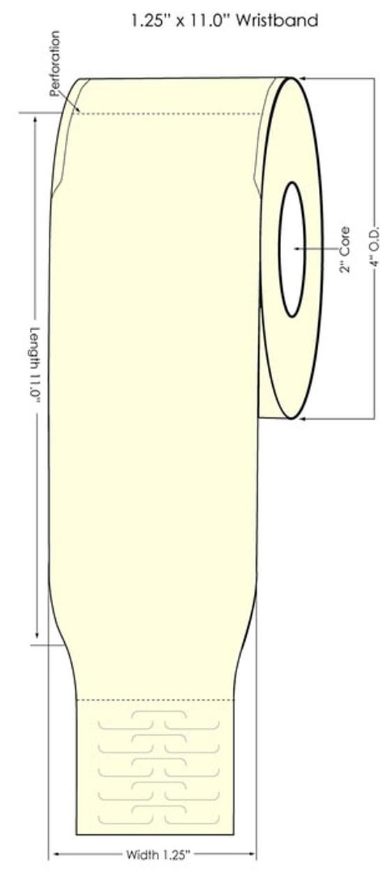 "Epson TM-C3500 1.25"" x 11"" Wristband Tags 125/Roll (819011)"