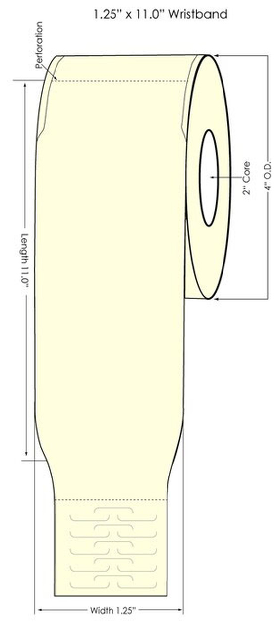"Epson TM-C3500 1.25"" x 11"" Wristband Tags 4 Rolls/Carton (819012)"