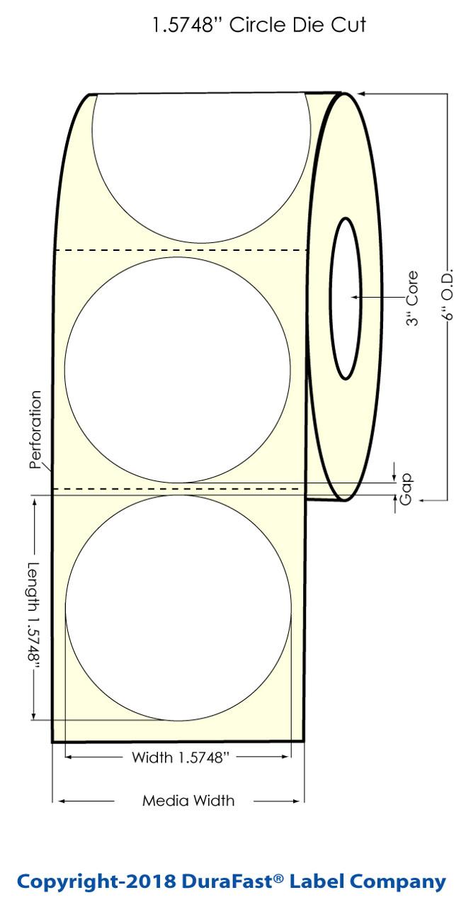 "Inkjet 1.5748"" Circle Glossy BOPP Labels 900/Roll (924015)"