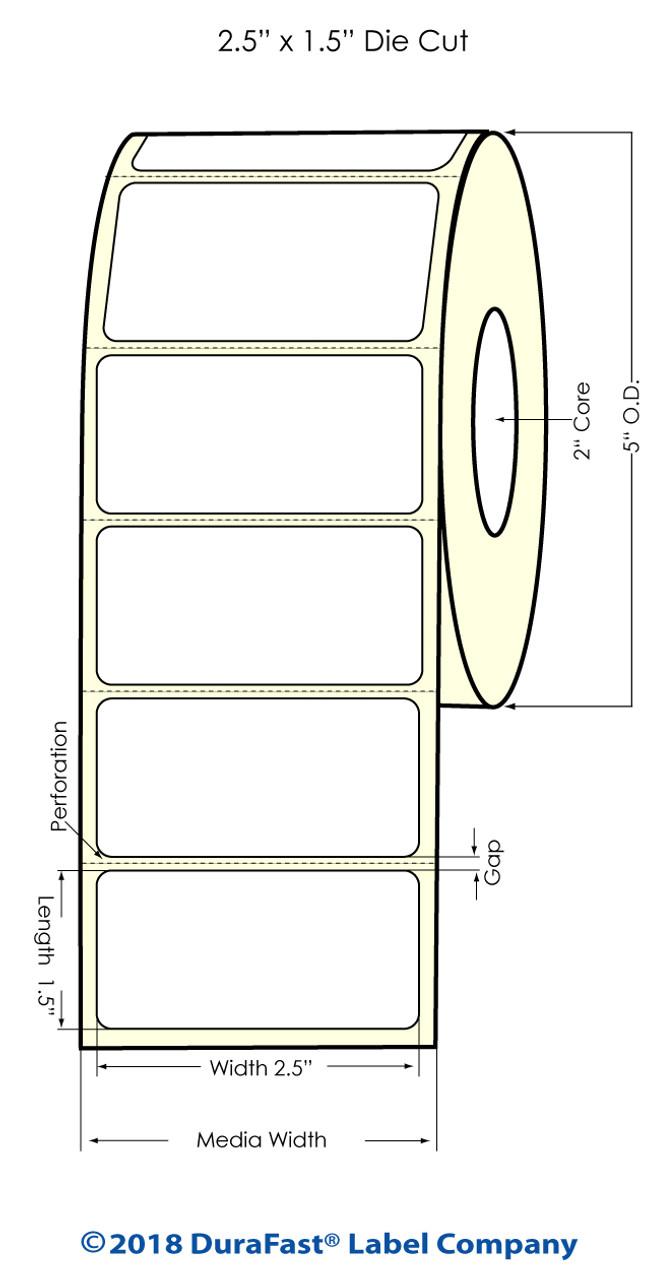 """Inkjet 2.5"""" x 1.5"""" Clear Polypropylene Label 1,000/Roll (926004)"""