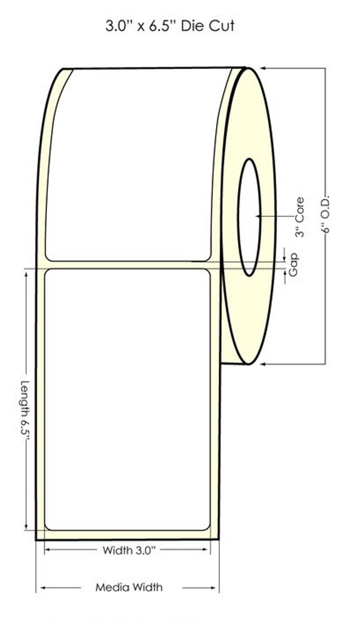 "Inkjet 3"" x 6.5"" NP High Gloss Paper Labels 400/Roll (931021)"