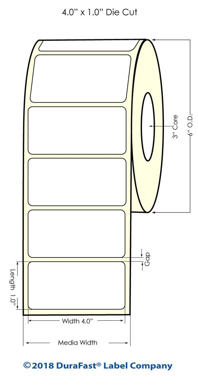"Inkjet 4"" x 1"" NP High Gloss Paper Labels 2500/Roll (931023)"