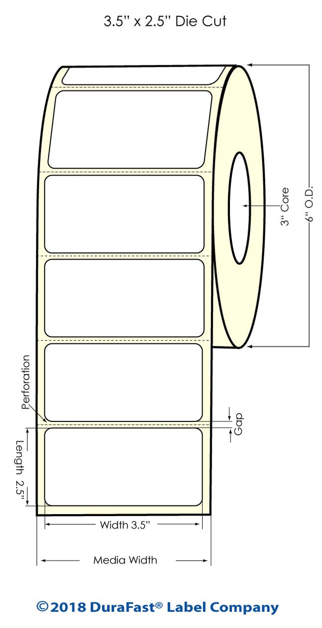 "Inkjet 3.5"" x 2.5"" High Gloss Paper Labels 950/Roll (931027)"