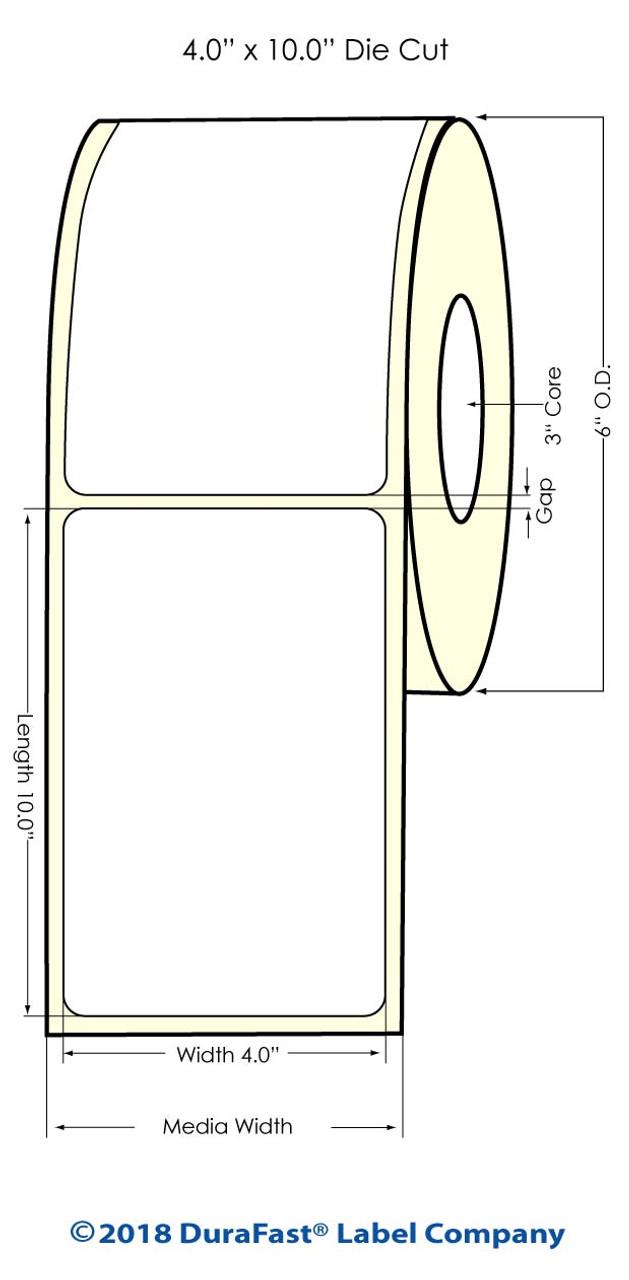 "Inkjet 4"" x 10"" NP High Gloss Paper Labels 250/Roll (931033)"