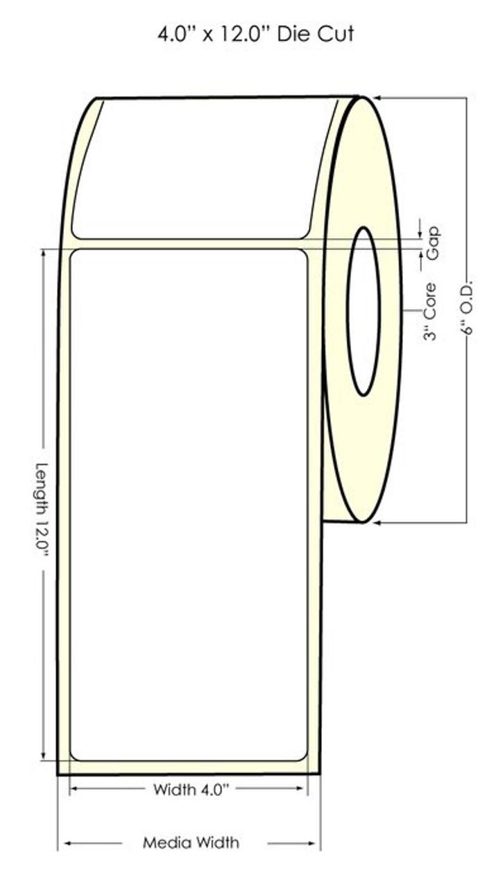 "Inkjet 4"" x 12"" NP High Gloss Paper Labels 215/Roll (931034)"