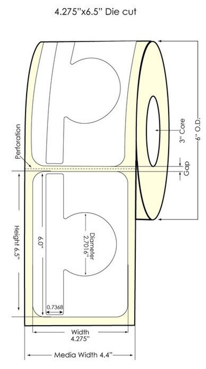 "Inkjet 2.9971"" x 6"" High Gloss Paper Labels 400/Roll (931037)"