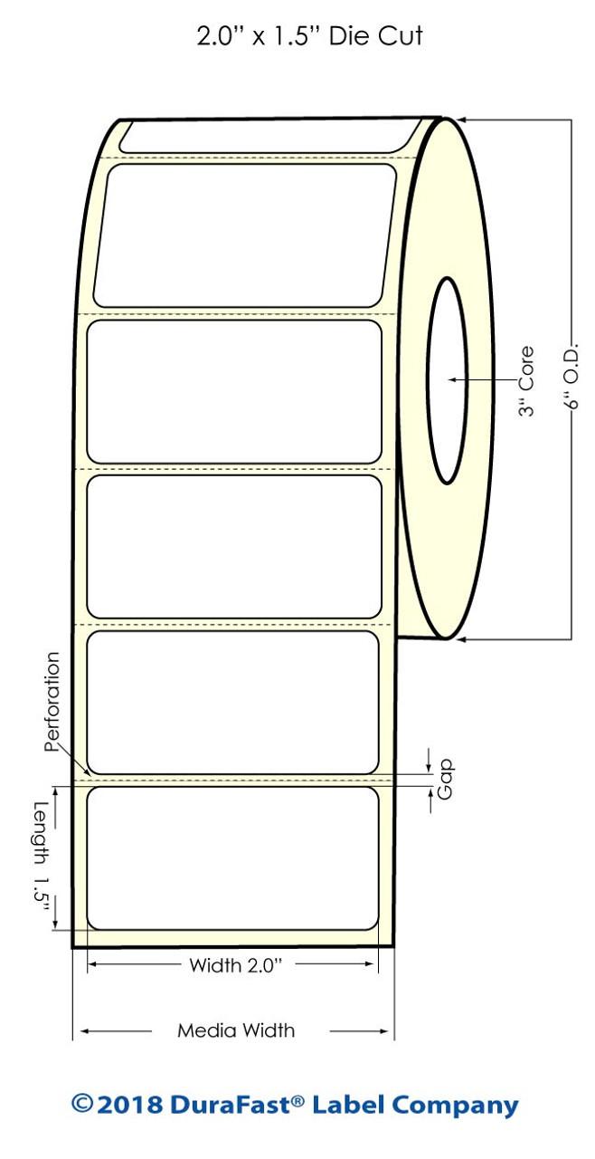 "Inkjet 2"" x 1.5"" High Gloss Paper Labels 1500/Roll (931038)"