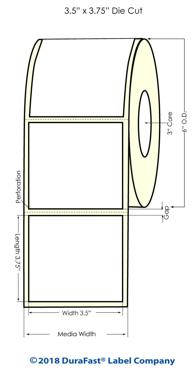 "Inkjet 3.5"" x 3.75"" Square corners High Gloss Paper Labels 680/Roll (931041)"