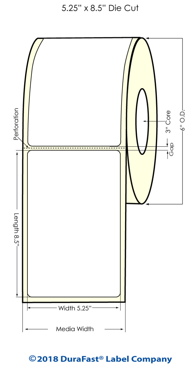 "Inkjet 5.25"" x 8.5"" High Gloss Paper Labels 300/Roll (931046)"