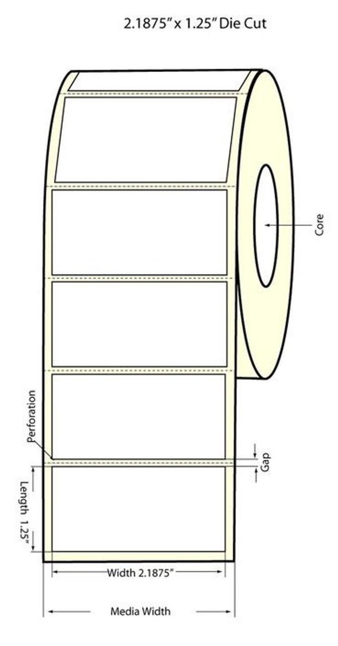 """Inkjet 2.1875"""" x 1.25"""" Matte Paper Label 1800/Roll (932019)"""