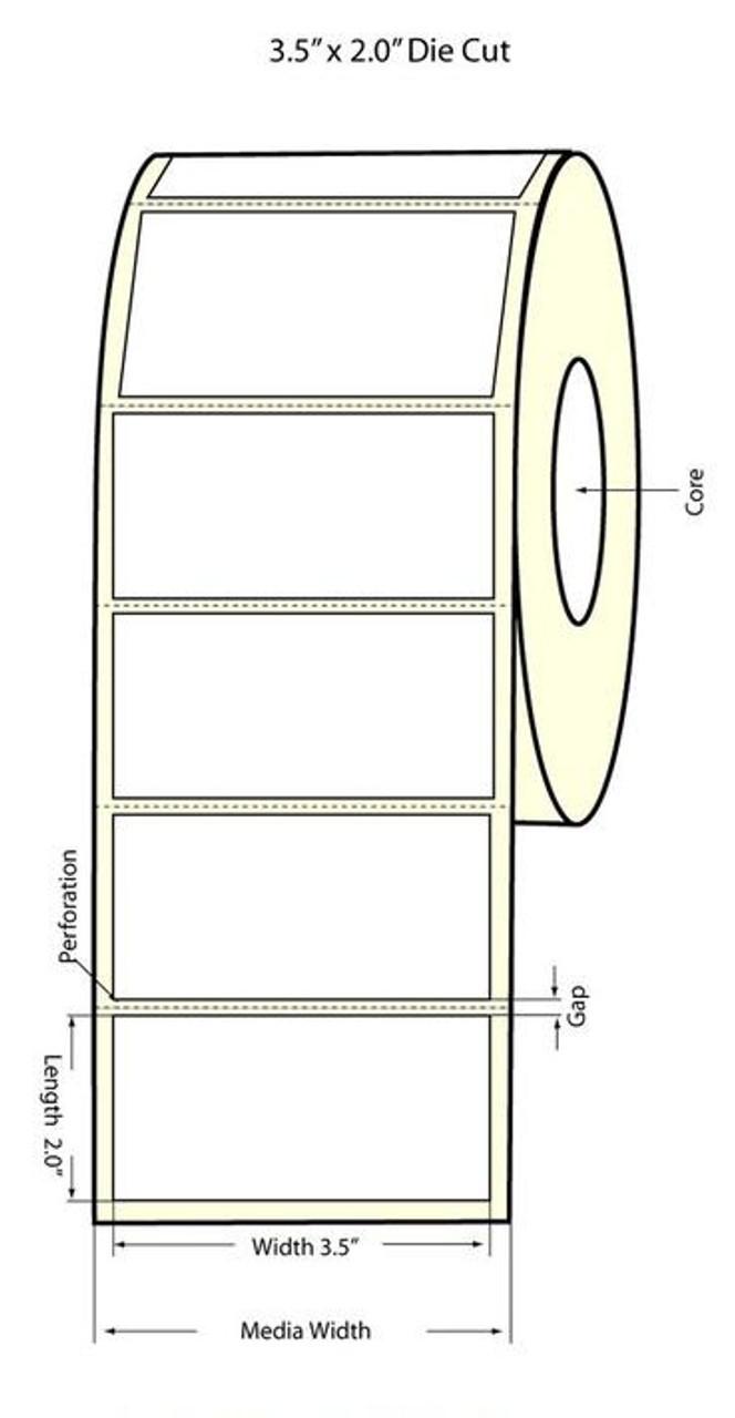 """Inkjet 3.5"""" x 2"""" Matte Paper Label 1200/Roll (932020)"""