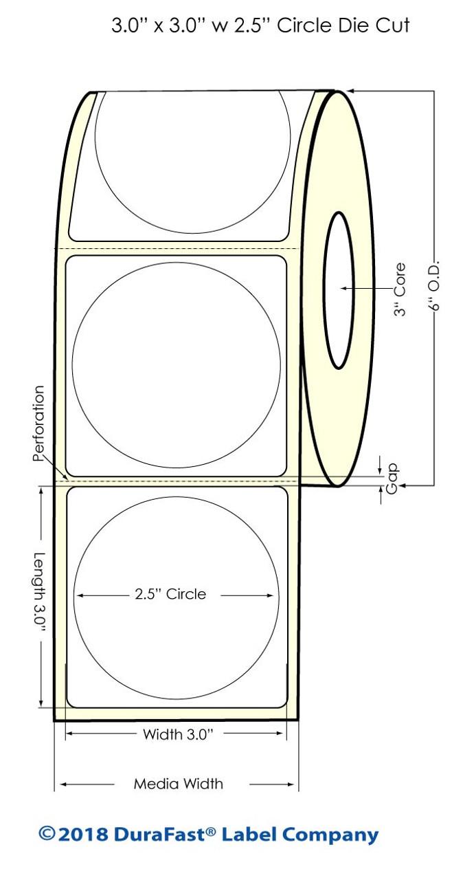 "Inkjet 2.5"" Circle Matte Paper Label 800/Roll (932021)"