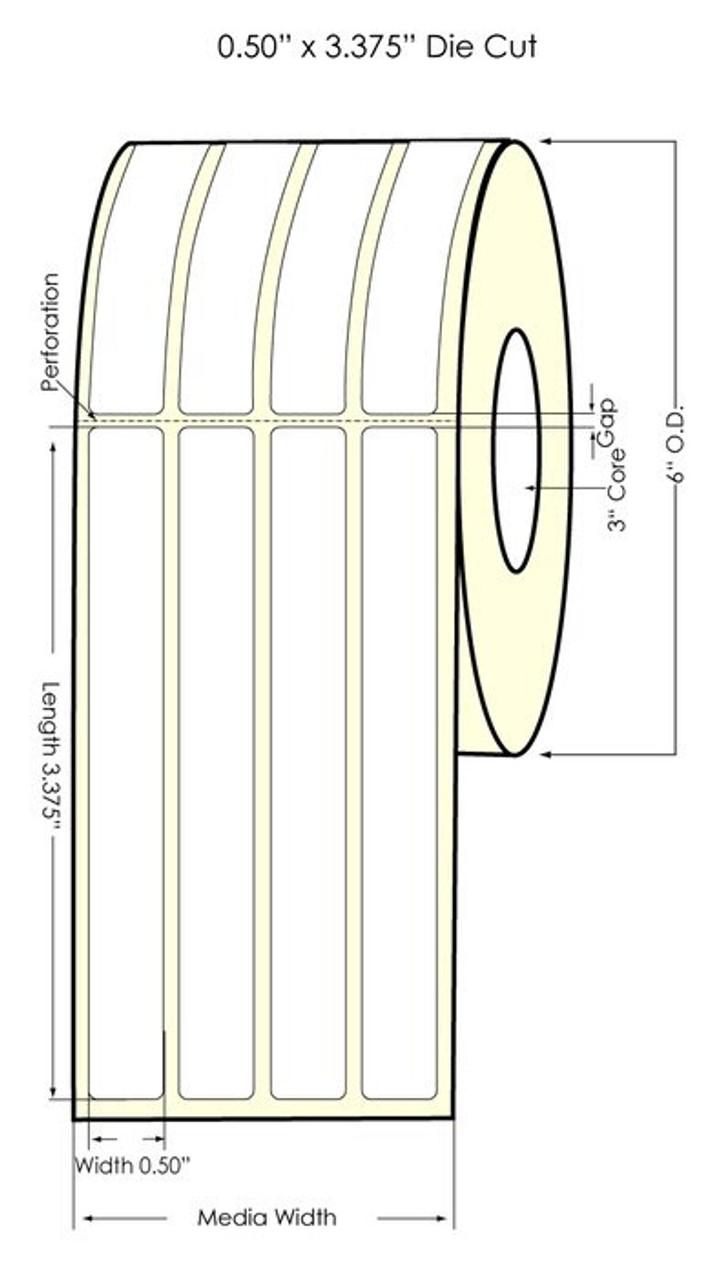 "Inkjet 0.5"" x 3.375"" (4 UP) Matte Paper Label 2800/Roll"