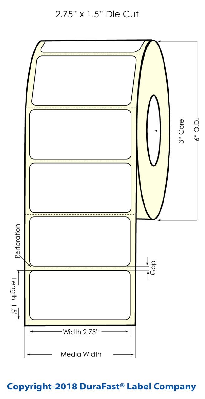"""Inkjet 2.75"""" x 1.5"""" Matte Paper Label 1500/Roll (932028)"""