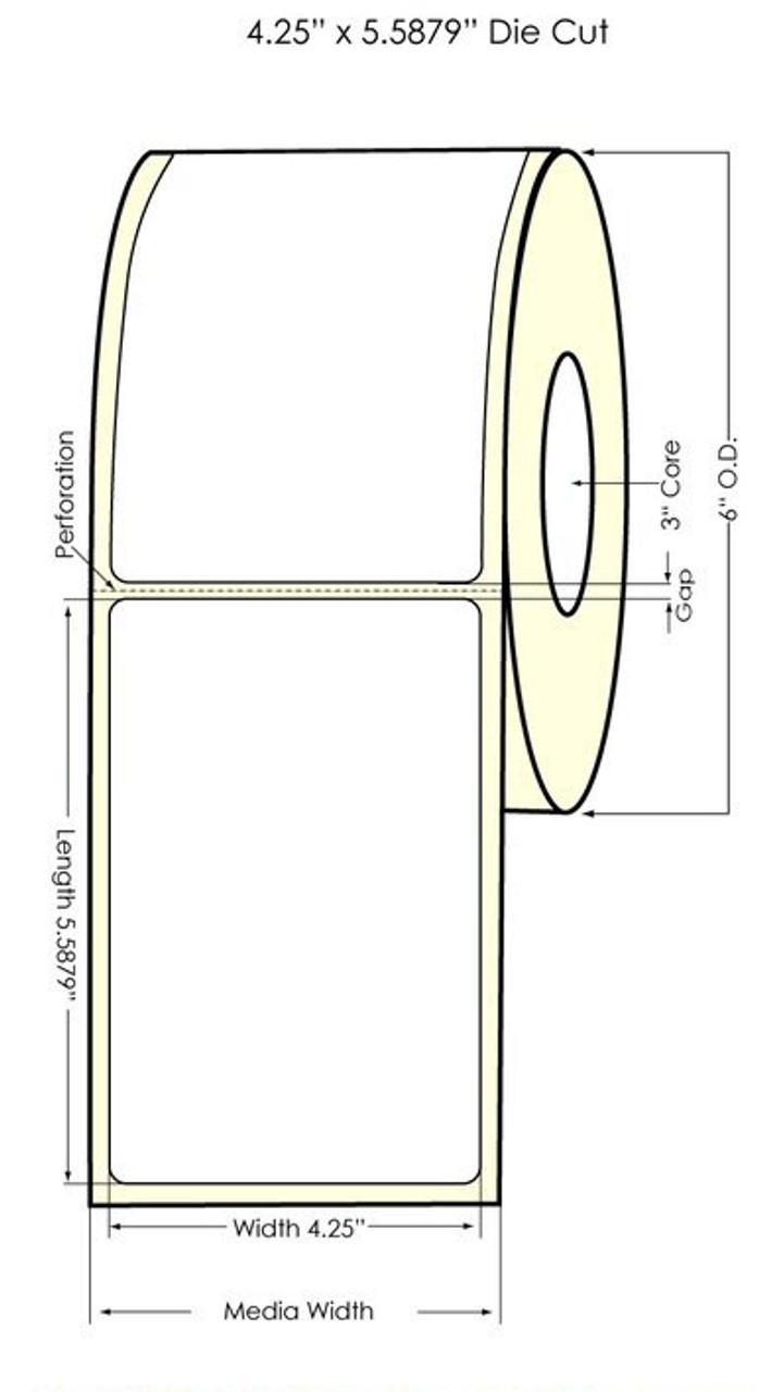"""Inkjet 4.25"""" x 5.5879"""" Matte Paper Label 450/Roll (932029)"""