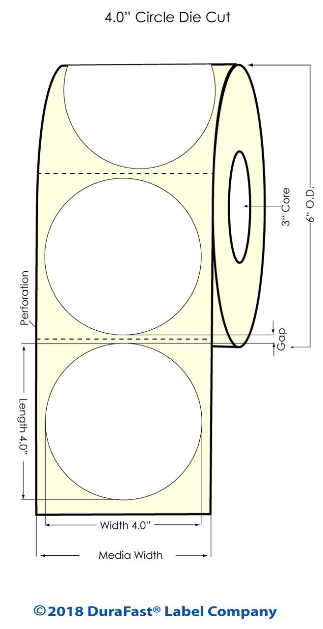 "Inkjet 4"" Circle Matte Paper Labels 600/Roll (932032)"