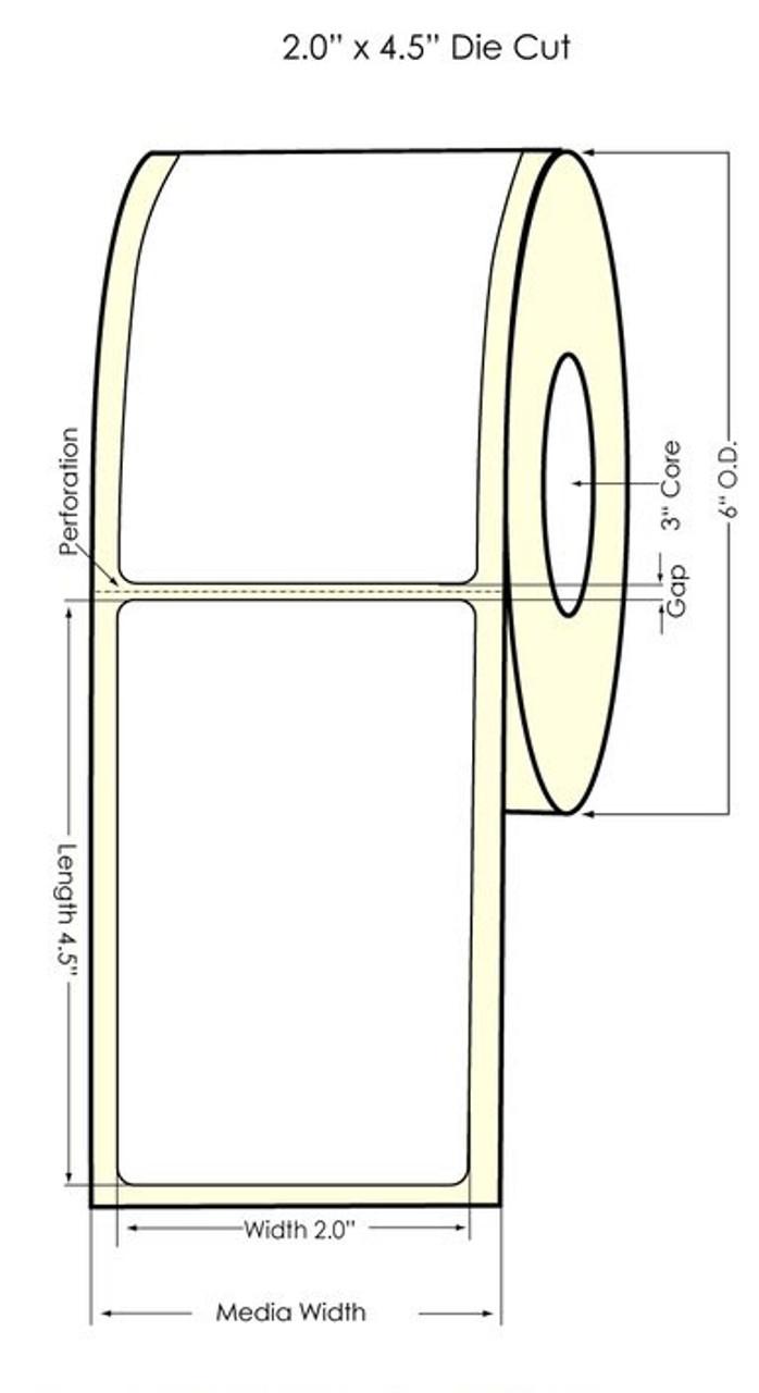 """Inkjet 2"""" x 4.5"""" Matte BOPP Labels 550/Roll (933027)"""