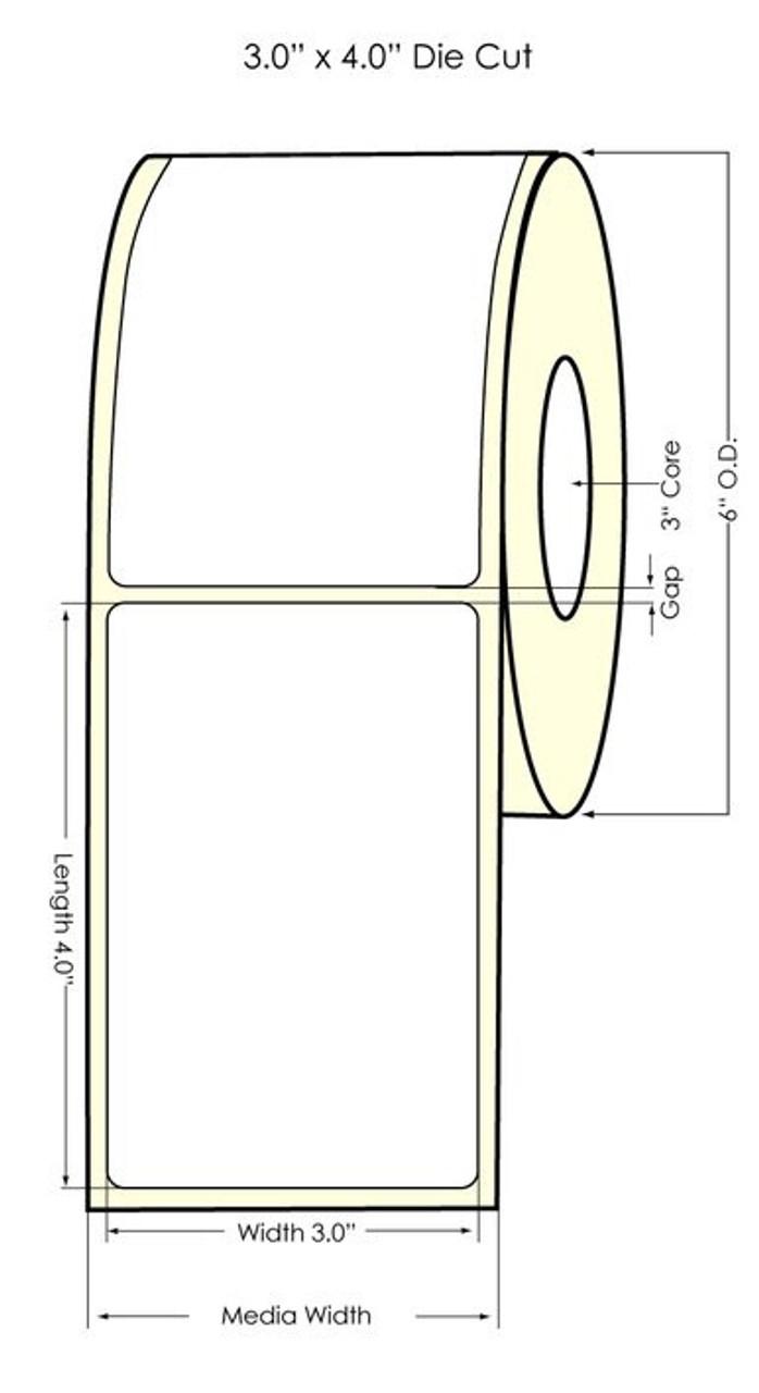 "Inkjet 3"" x 4"" NP Glossy BOPP Labels 640/Roll (934022)"