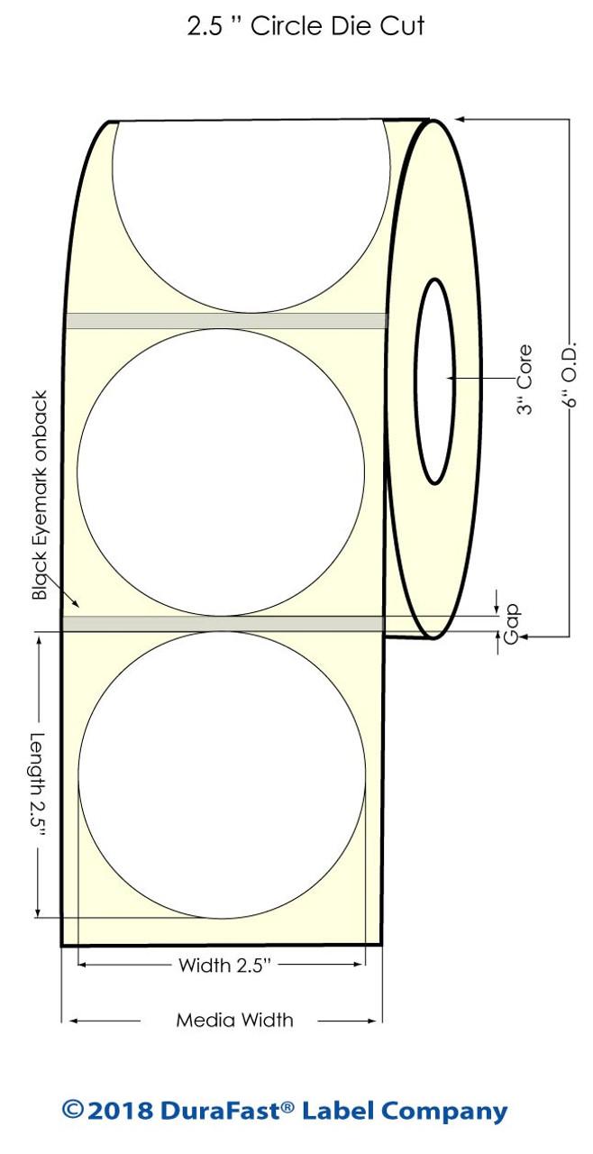 "Inkjet 2.5"" Circle Glossy BOPP Labels 900/Roll (934029)"