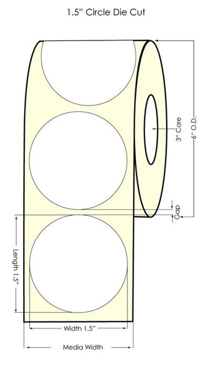 "Inkjet 1.5"" NP Circle Glossy BOPP Labels 1225/Roll (934030)"