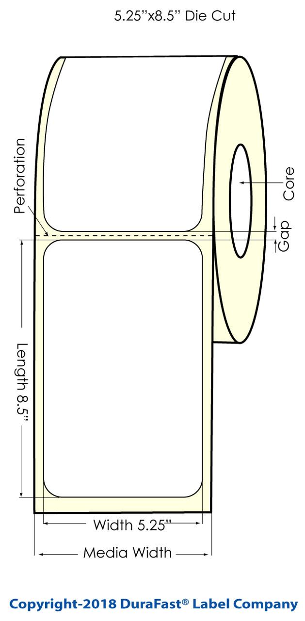 """Inkjet 5.25"""" x 8.5"""" Glossy BOPP Labels 300/Roll (934031)"""