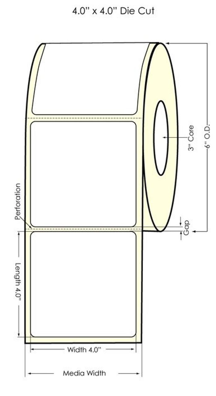 """Inkjet 4"""" x 4"""" Glossy BOPP Labels 600/Roll (934032)"""