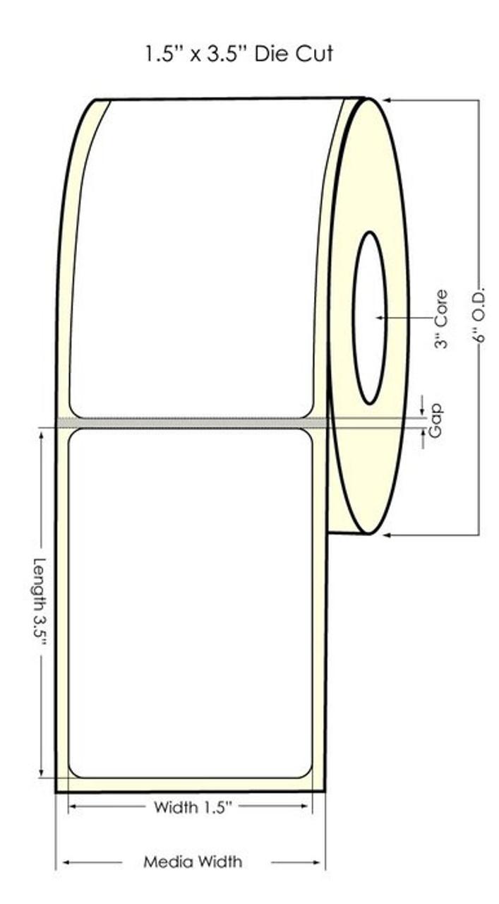 "Inkjet 1.5"" x 3.5"" NP Glossy BOPP Labels 700/Roll (934034)"