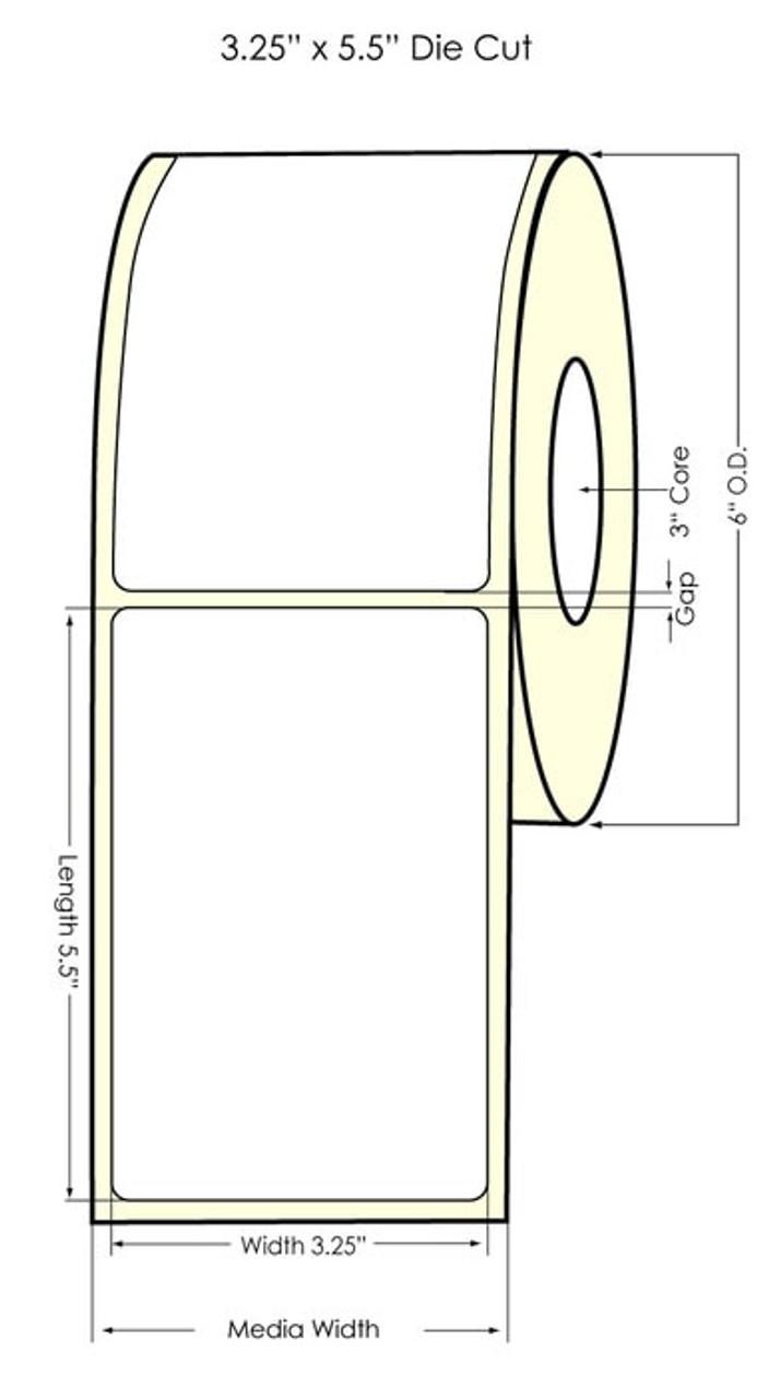 "Inkjet 3.25"" x 5.5"" NP Glossy BOPP Labels 450/Roll (934036)"