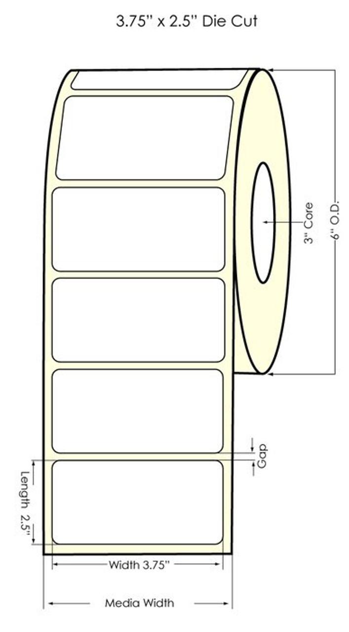 "Inkjet 3.75"" x 2.5"" NP Glossy BOPP Labels 950/Roll (934037)"