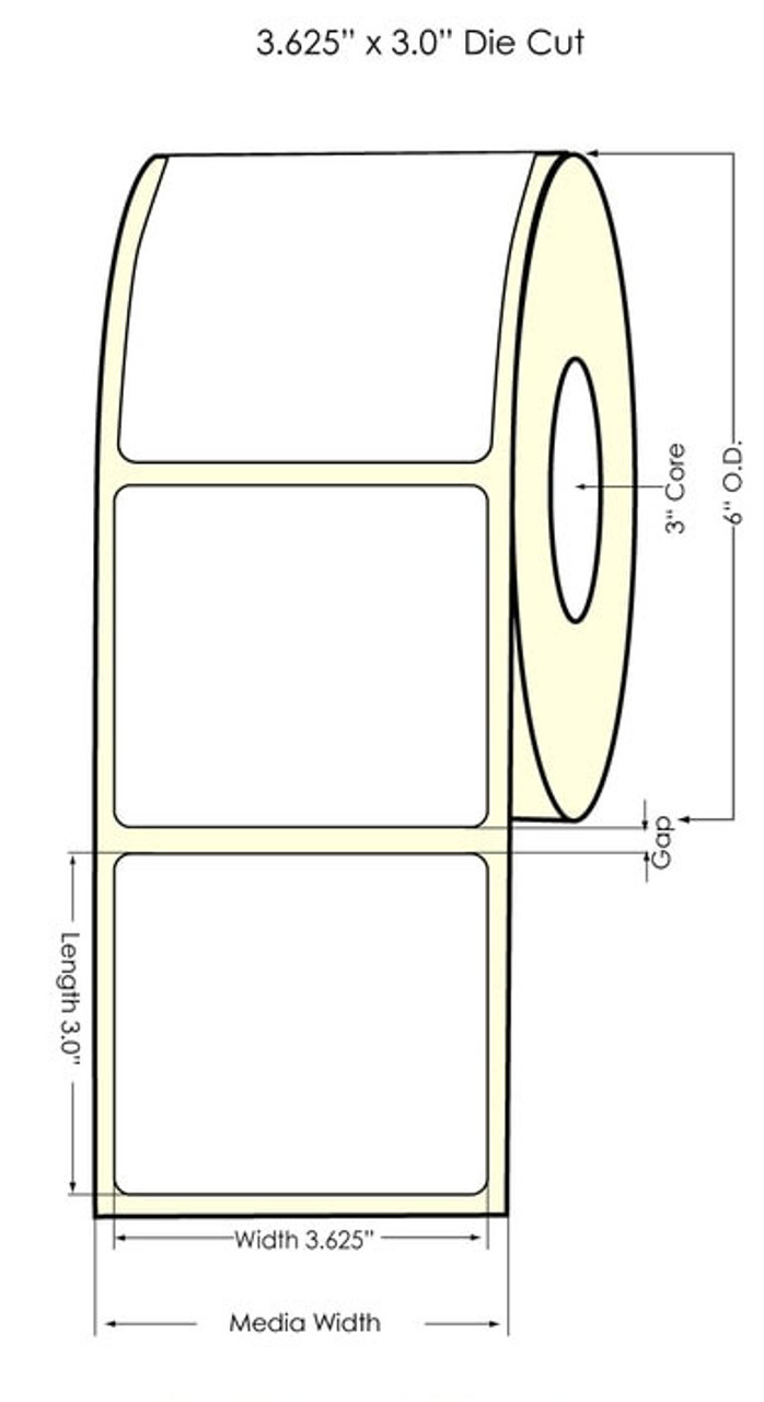 "Inkjet 3.625"" x 3"" NP Glossy BOPP Labels 700/Roll (934038)"