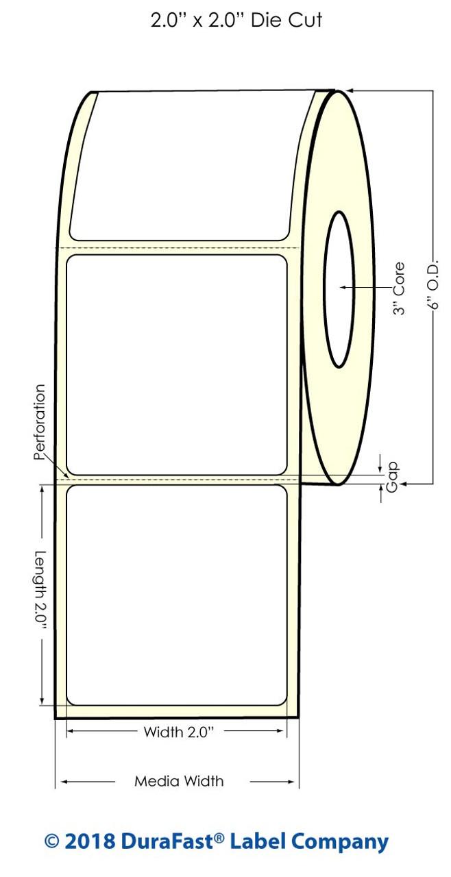 """Inkjet 2"""" x 2"""" (6"""" OD) Windshield Glossy BOPP Labels 1000/Roll (934039)"""