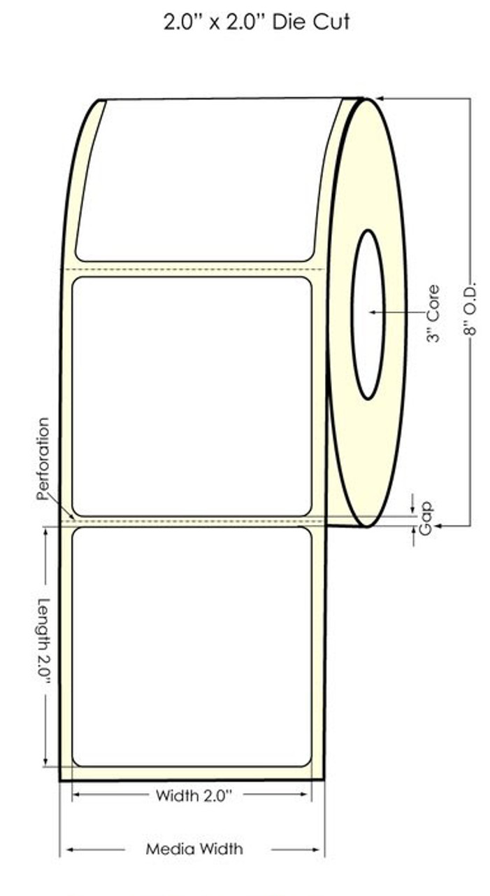 """Inkjet 2"""" x 2"""" (8"""" OD) Windshield Glossy BOPP Labels 2800/Roll (934040)"""