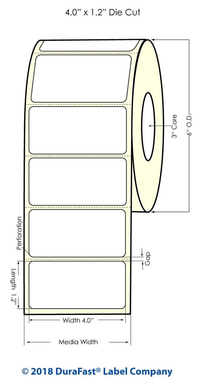 """Inkjet 4"""" x 1.2"""" Glossy BOPP Labels 1800/Roll (934042)"""