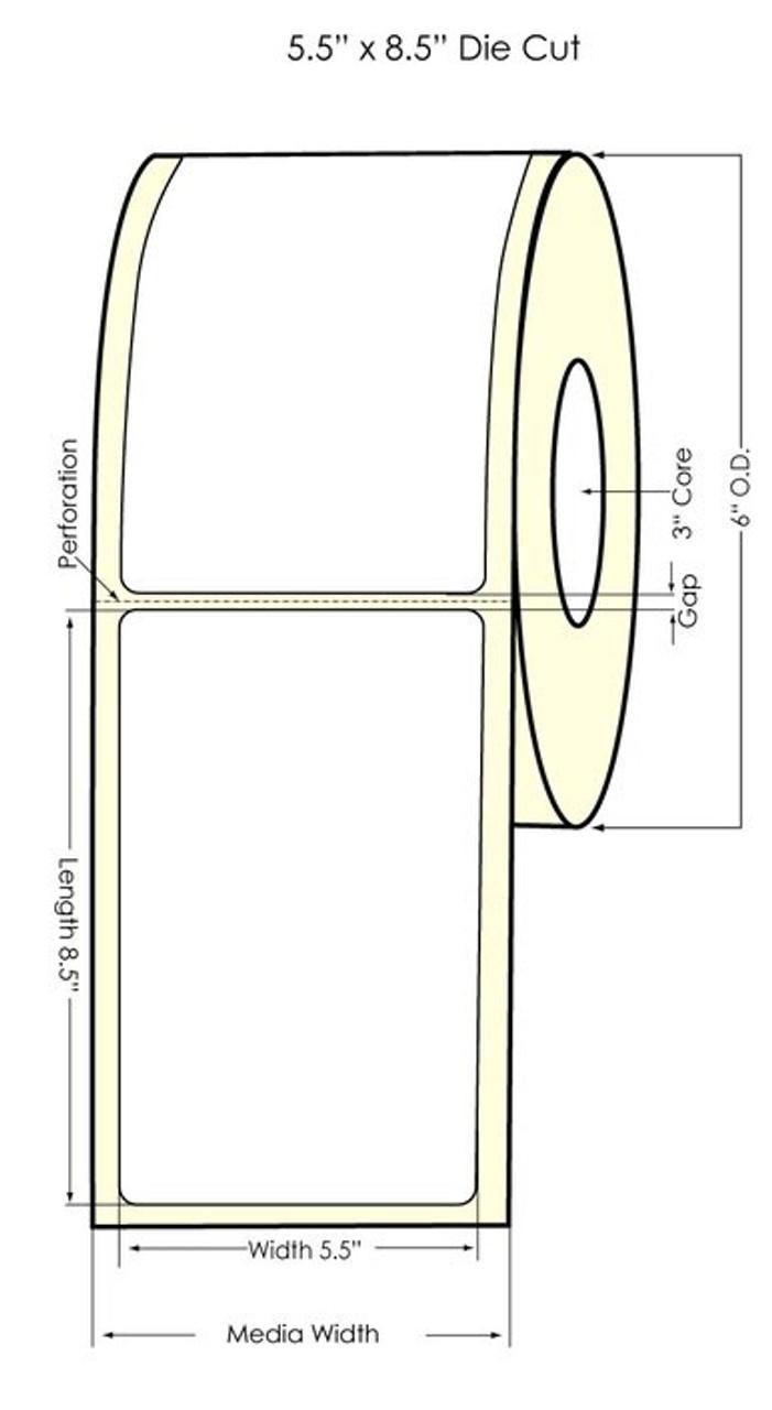 """Inkjet 5.5"""" x 8.5"""" Glossy BOPP Labels 300/Roll (934043)"""