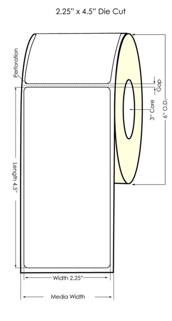 """Inkjet 2.25"""" x 4.5"""" Glossy BOPP Labels 550/Roll (934044)"""