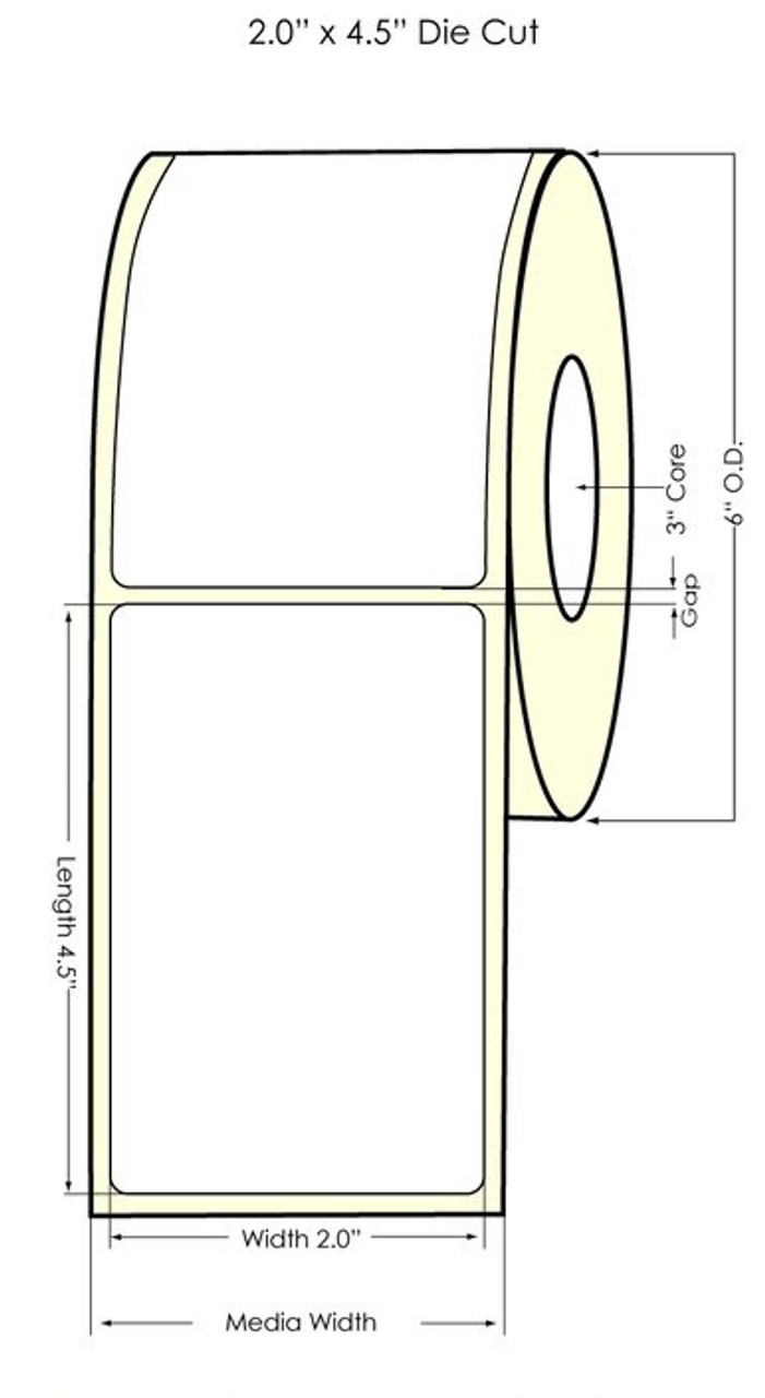 "Inkjet 2"" x 4.5"" NP Glossy BOPP Labels 550/Roll (934048)"