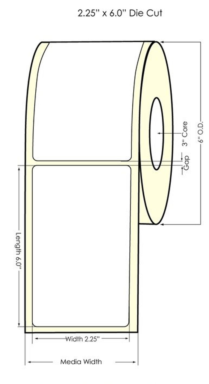 "Inkjet 2.25"" x 6"" NP Glossy BOPP Labels 400/Roll (934049)"