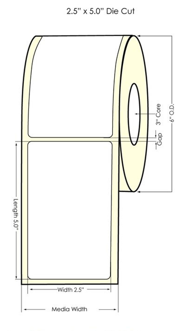 "Inkjet 2.5"" x 5"" NP Glossy BOPP Labels 500/Roll (934050)"