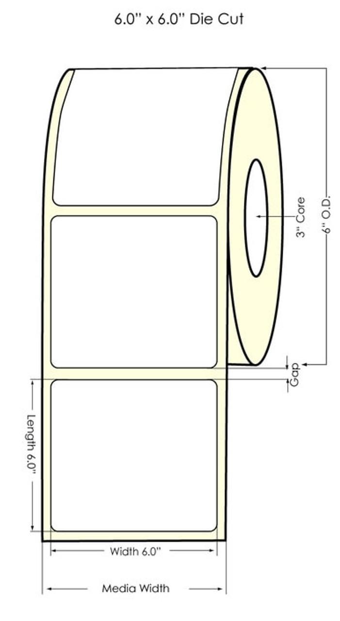 """Inkjet 6"""" x 6"""" Clear BOPP Label 475/Roll (936011)"""