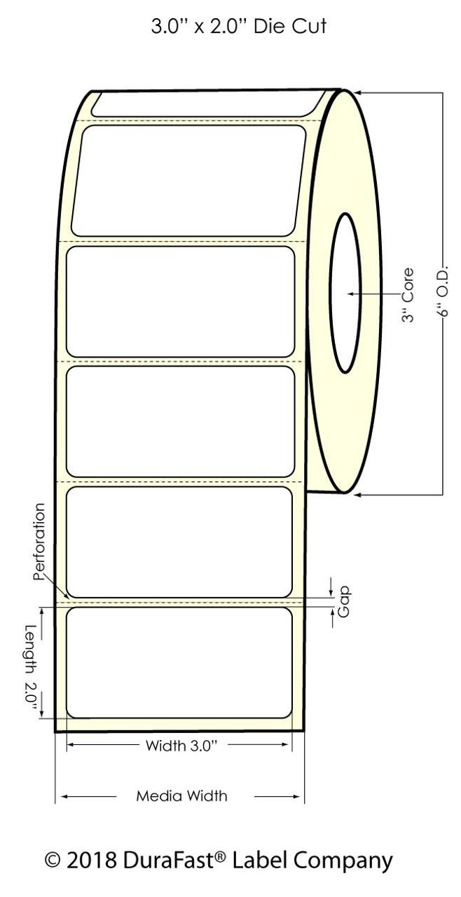"Inkjet 3"" x 2"" Silver Polyester Label 1200/Roll (937002)"