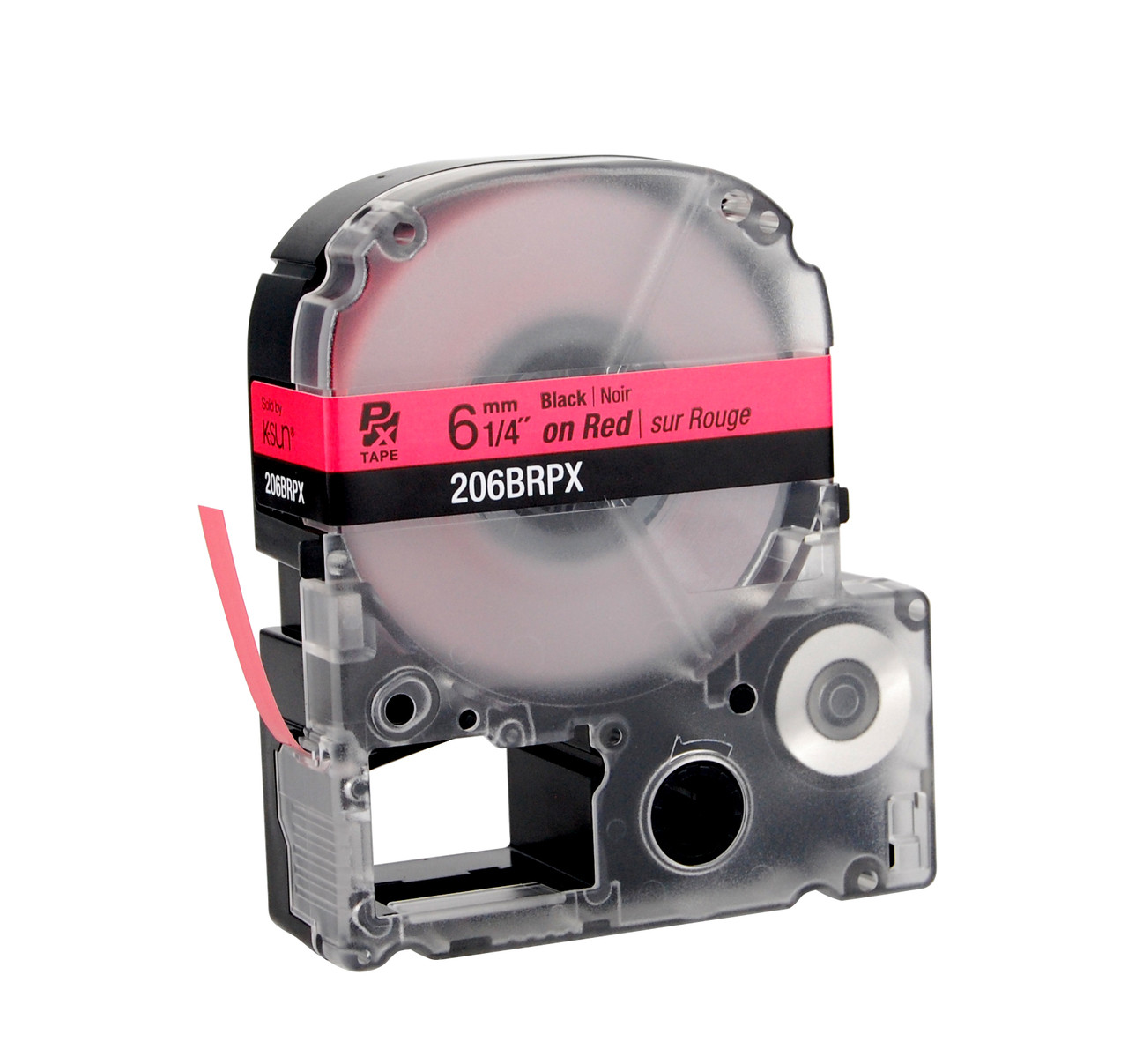 """Epson 206BRPX 1/4"""" Red Glossy Polyester Label PX Tape"""