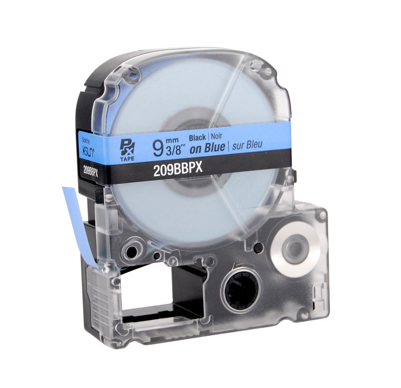 """Epson 209BBPX 3/8"""" Blue Glossy Polyester Label PX Tape"""