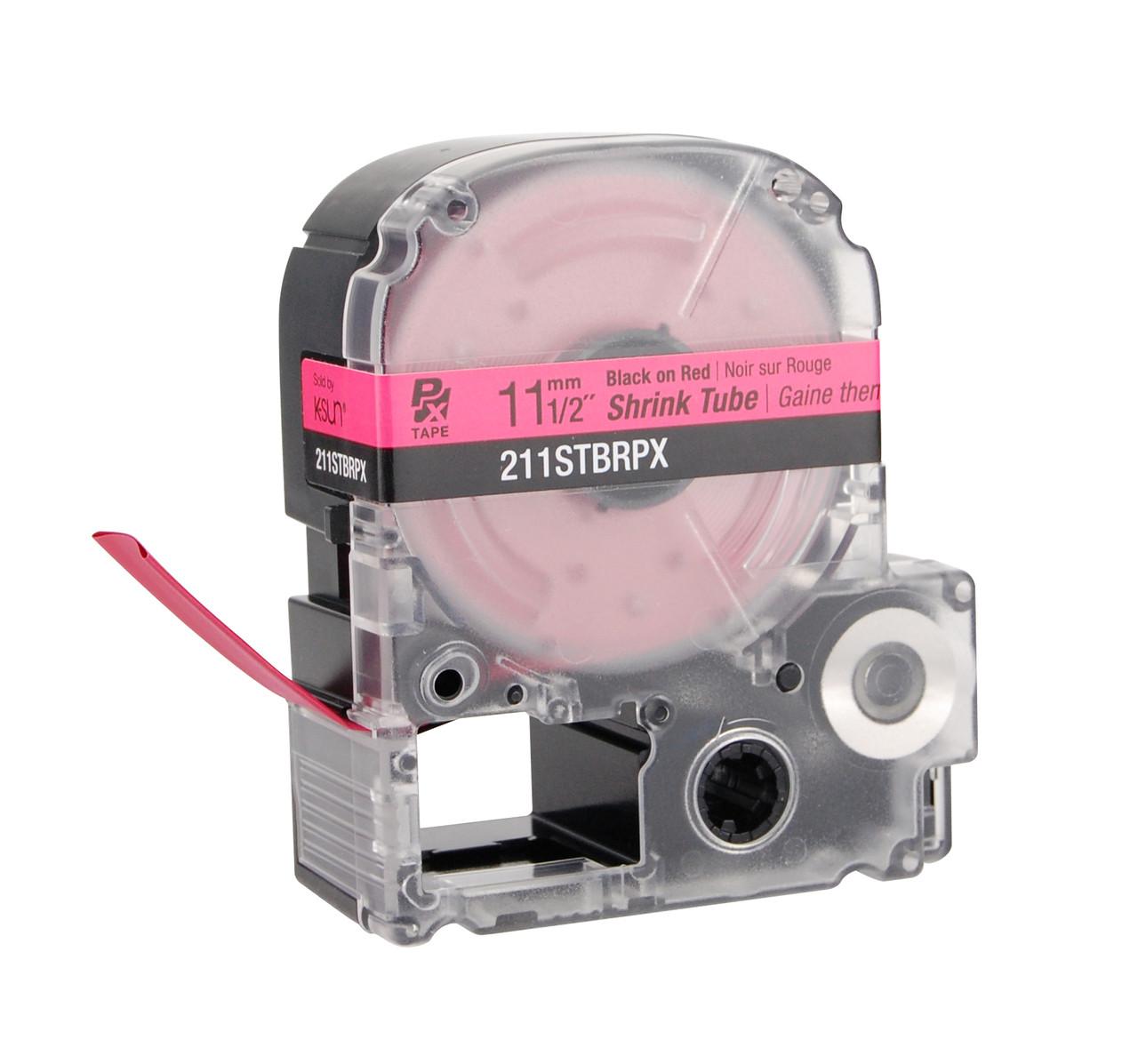 """Epson 211STBRPX 1/2"""" Red Matte Heat Shrink Tube PX Tape"""