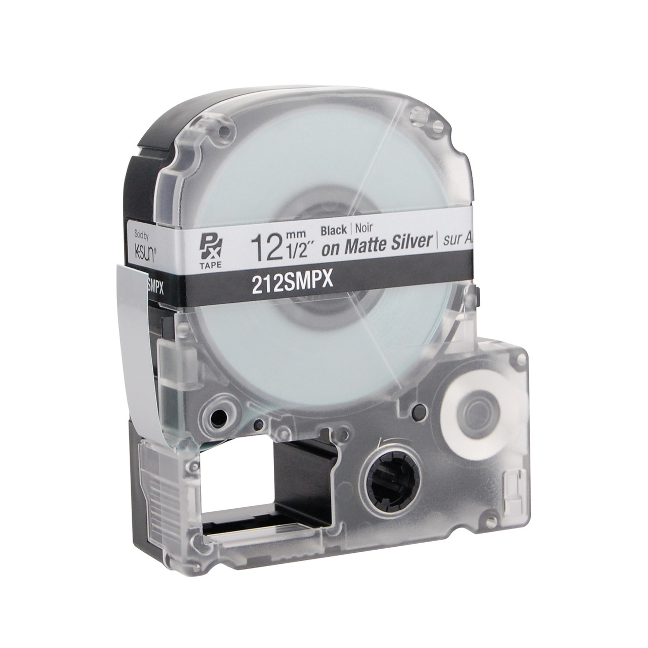 """Epson 212SMPX 1/2"""" Silver Matte Polyester Label PX Tape"""