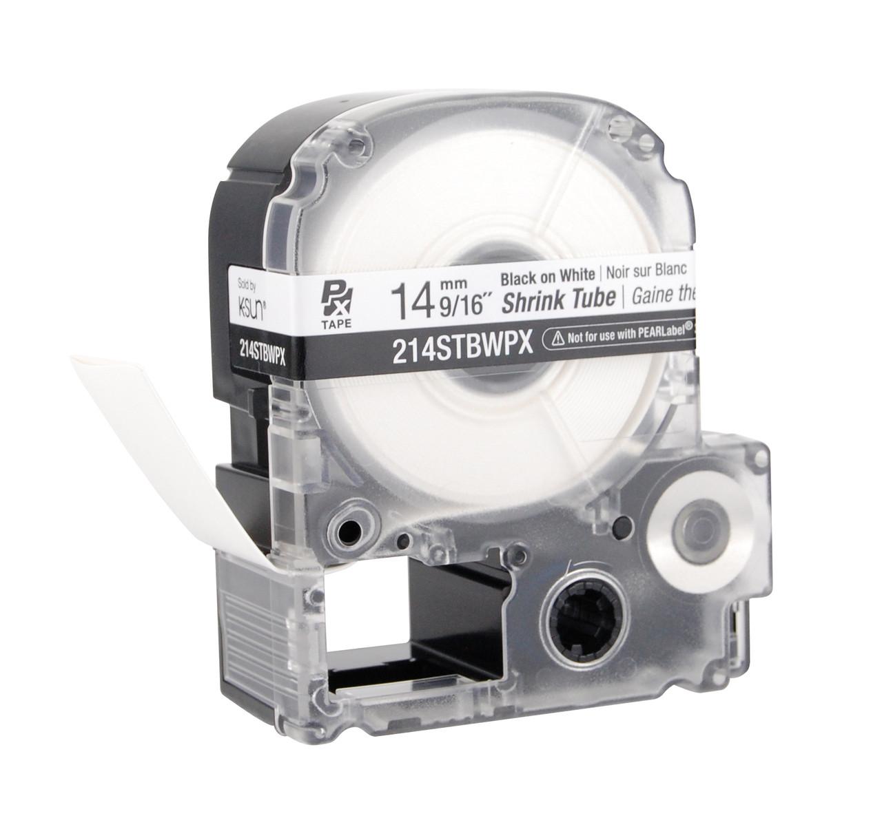 """Epson 214STBWPX 9/16"""" White Matte Heat Shrink Tube PX Tape"""
