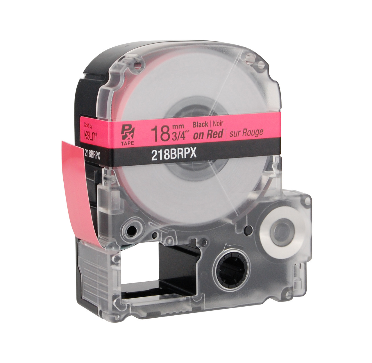 """Epson 218BRPX 3/4"""" Red Glossy Polyester Label PX Tape"""